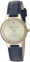 Anne Klein Women's Quartz Metal and Polyurethane Dress Watch, Color:Blue (Model: AK/2538CHNV)