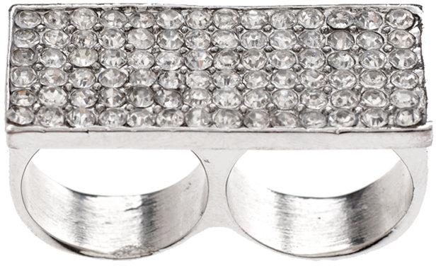 Asos Rhinestone Encrusted Double Finger Box Ring