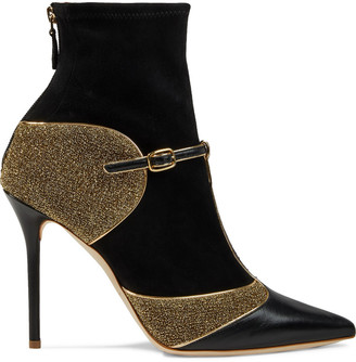 Malone Souliers Sadie 100 Suede, Leather And Lurex Ankle Boots
