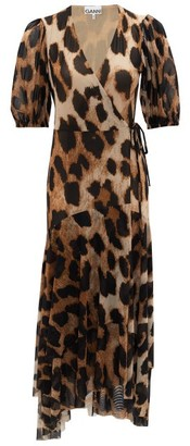 Ganni Leopard-print Wrap Mesh Dress - Leopard