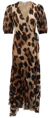 Ganni Leopard-print Wrap Mesh Dress - Womens - Leopard