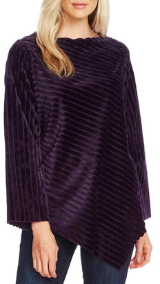 Vince Camuto Stripe Asymmetrical Velour Top