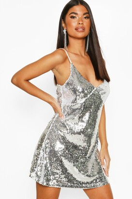 boohoo Petite Sequin Spaghetti Strap Slip Dress