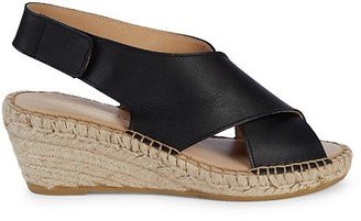 Andre Assous Florence Leather Slingback Espadrille Wedge Sandals