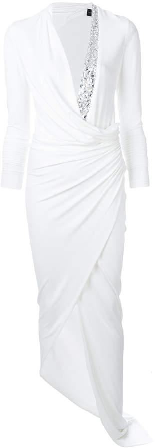 Alexandre Vauthier embellished neckline ruched waist dress