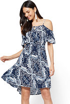 New York & Co. Cold-Shoulder Lace-Up Dress