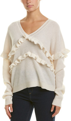 White + Warren Ruffle Trim Cashmere Sweater