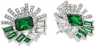 Vince Camuto Large Stud Earrings (Rhodium/Crystal/Dark Moss Green) Earring
