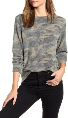 Loveappella Loveapella Camo Print Brushed Long Sleeve Top