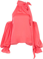 Milly scarf neck open shoulder blouse