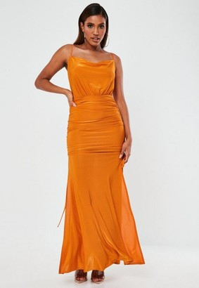 Missguided Orange Slinky Ruched Cowl Neck Maxi Dress