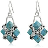 "Barse Silver Plate and Genuine Turquoise ""Encompass"" French Wire Drop Earrings"