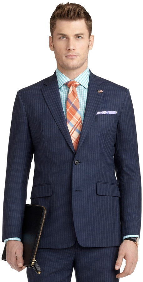 Brooks Brothers Milano Fit with Shadow and Mini Bead Stripe 1818 Suit