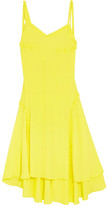 Cédric Charlier Ruffle-trimmed Crepe De Chine Dress - Bright yellow