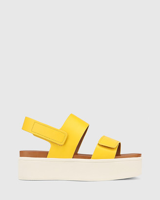 Wittner - Women's Yellow Sandals - Jolly Leather Slingback Flatform Sandals - Size One Size, 37 at The Iconic
