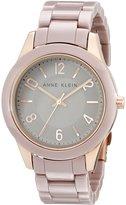 Anne Klein Women's AK/1962RGTP Rose Gold-Tone and Taupe Ceramic Bracelet Watch