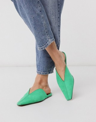Asos DESIGN Landing suede mules in green