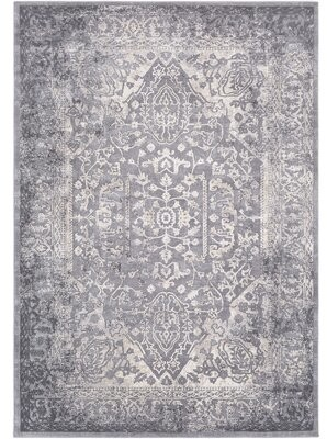 Charlton Home Thissell Oriental Gray/Ivory Area Rug Rug Size: Rectangle 2' x 3'