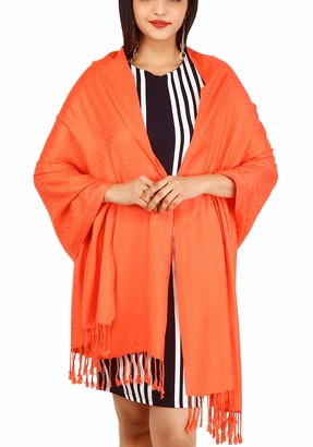 Raajsee Large Textured Solid Colors - Self Embossed Pashmina Silk Soft Feel - Cashmere Shawl Stole Wrap Scarf Hijaab - With 2 Inch Fringes -Perfect Christmas Gift - 30x80 Inches orange