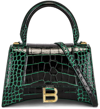 Balenciaga Small Hourlgass Top Handle Bag in Forest Green | FWRD