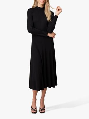 Jigsaw Long Sleeve A-Line Midi Dress, Navy