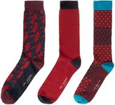 Ted Baker Draughs 3 Pack Assorted Print Socks