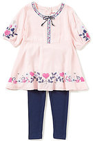 Flapdoodles Little Girls 2T-6X Heart-Print Dress & Solid Leggings Set