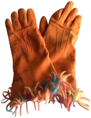 Romeo Gigli Orange Suede Gloves
