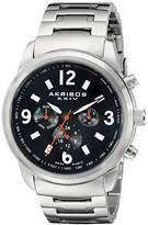 Akribos XXIV Men's AK783SSB Multifunction Swiss Quartz Movement Watch with Black Dial and Stainless Steel Bracelet