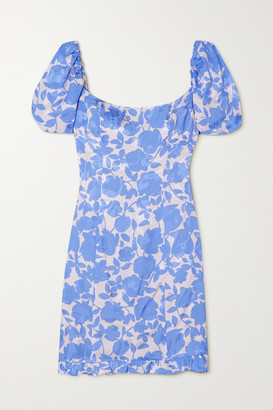 De La Vali Koko Floral-print Satin-jacquard Mini Dress - Blue