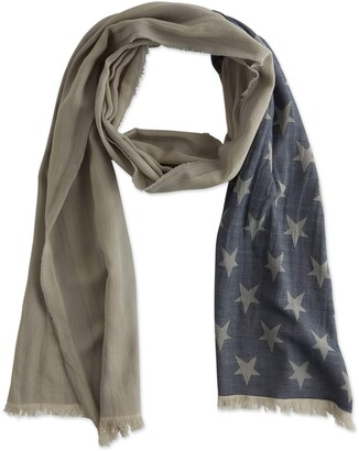 "Tickled Pink Women's Blue & Gray American Flag Scarf 20"" x 87"""