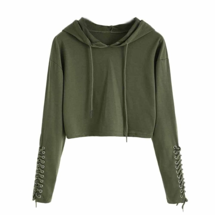 Thumbnail for your product : LEXUPE Women Hoodie Sweatshirt Jumper Sweater Crop Top Coat Sports Pullover Tops (S