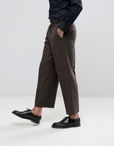 Asos Wide Leg Suit Pants In Brown Herringbone