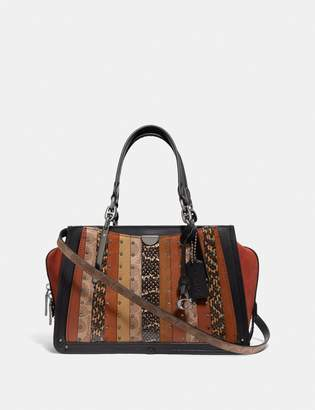Coach Dreamer With Signature Canvas Patchwork Stripes And Snakeskin Detail