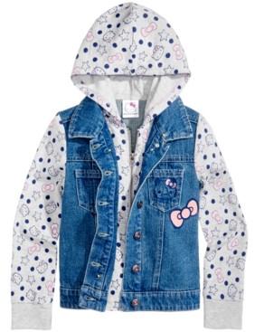 Hello Kitty Little Girls Denim Hooded Jacket