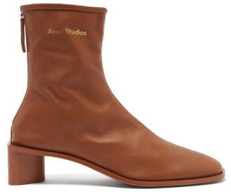 Acne Studios Bertine Back-zip Stretch-leather Ankle Boots - Tan