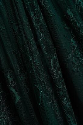 Self-Portrait Gathered Chantilly Lace Maxi Dress