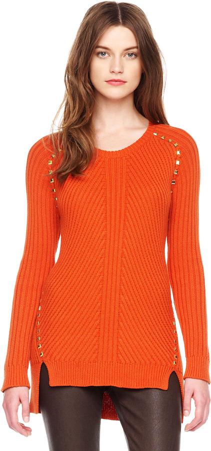 Michael Kors Stud-Trim Ribbed Sweater