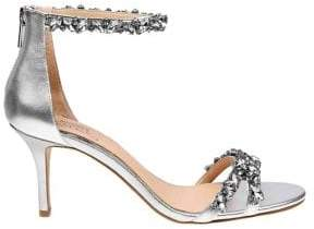 Badgley Mischka Caroline Rhinestone Leather Sandals