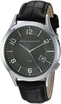 French Connection Men's 'Cromwell' Quartz Stainless Steel and Leather Automatic Watch, Color:Black (Model: FC1260BBA)