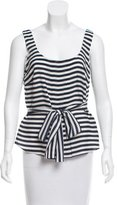 Akris Striped Silk Sleeveless Top