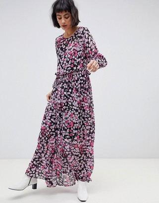 Selected Maggie floral print maxi dress-Purple