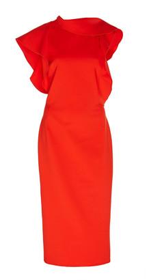 Oscar de la Renta Ruffle-Accented Wool Midi Dress
