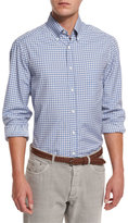 Brunello Cucinelli Basic-Fit Check Sport Shirt, Blue