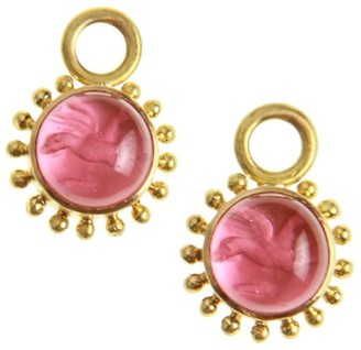 Elizabeth Locke Venetian Glass Intaglio Pink 'Cabochon Tiny Griffin' Earring Pendants