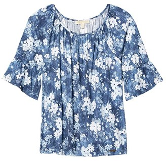 MICHAEL Michael Kors Size Bleached Floral Gathered Peasant Top (Chambray) Women's Clothing