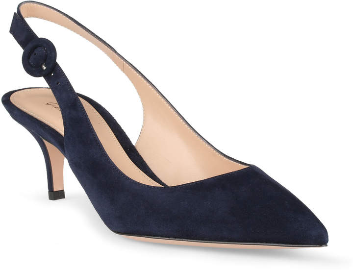 Gianvito Rossi Anna navy suede sling-back pumps