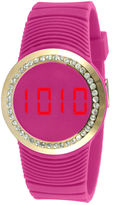 JCPenney TKO ORLOGI Womens Crystal-Accent Pink Silicone Strap Touch Digital Sport Watch