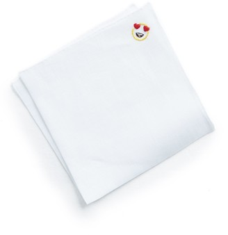 Mungai Handmade Italian Linen Pocket Square with Heart Eyes Emoji