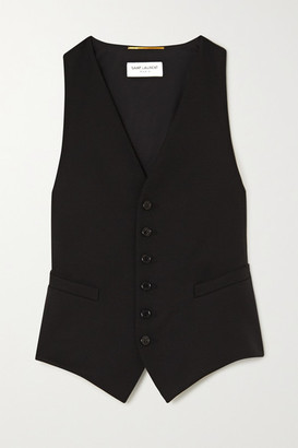 Saint Laurent Grain De Poudre Wool And Silk-satin Vest - Black